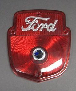 53-66 Lens - Taillight - Chrome Script w/ Blue Dot