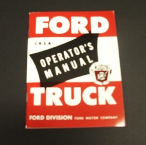 1954 FORD TRUCK OWNERS MANUAL