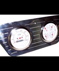 53-55 Ford Polished Aluminum Dash Panel - Quad 3-3/853-55 Ford Polished Aluminum Dash Panel - Quad 3-3/8