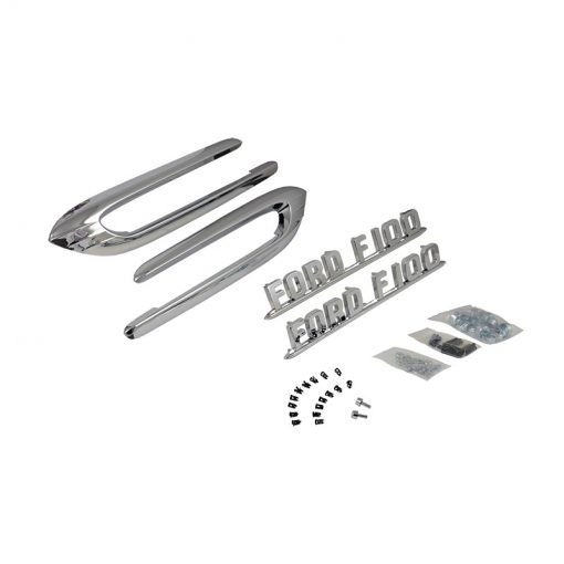 "53-54 Ford Truck Hood Emblem Set - ""Ford F100"" With Boomerangs"