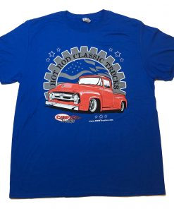 Red 56 Ford Truck on Royal Blue T-Shirt